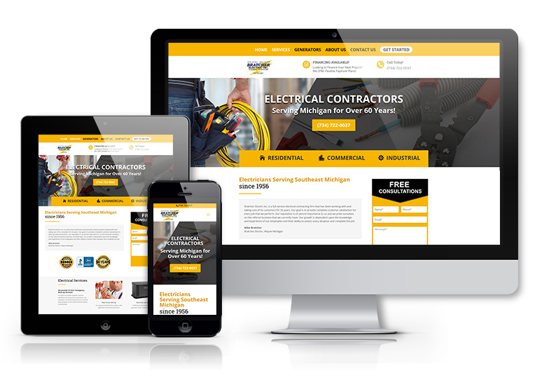 web design for an electrician in Wayne Michigan